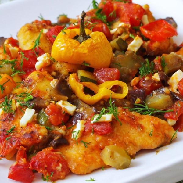 mediterranean chicken medley with eggplant and feta photos