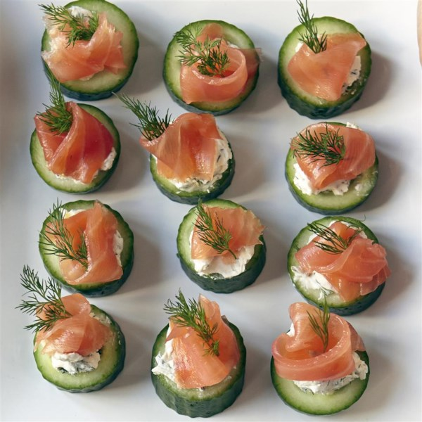 cucumber cups with dill cream and smoked salmon photos