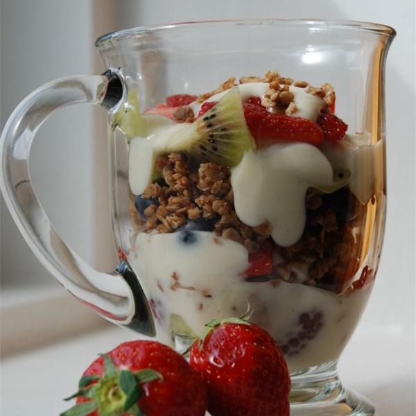 summer berry parfait with yogurt and granola photos