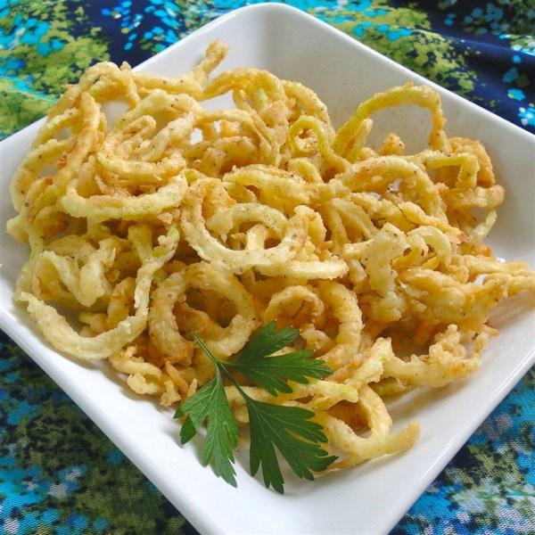 deep fried zucchini spirals photos