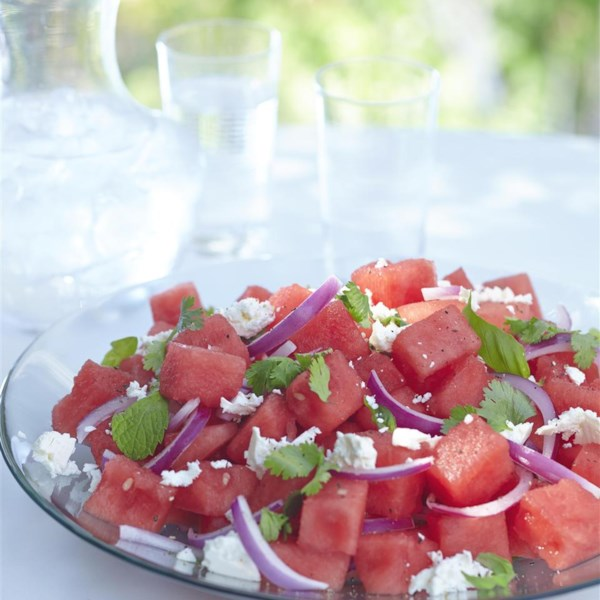 herb watermelon feta salad photos