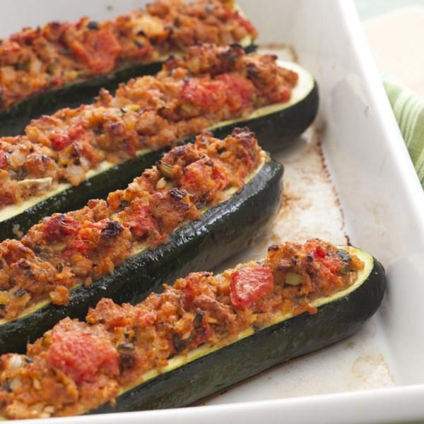 stuffed zucchini with chicken sausage photos