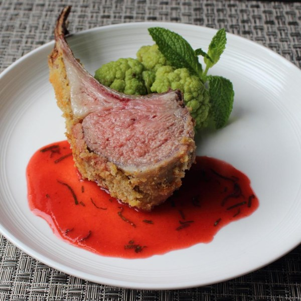 rack of lamb with strawberry mint sauce photos