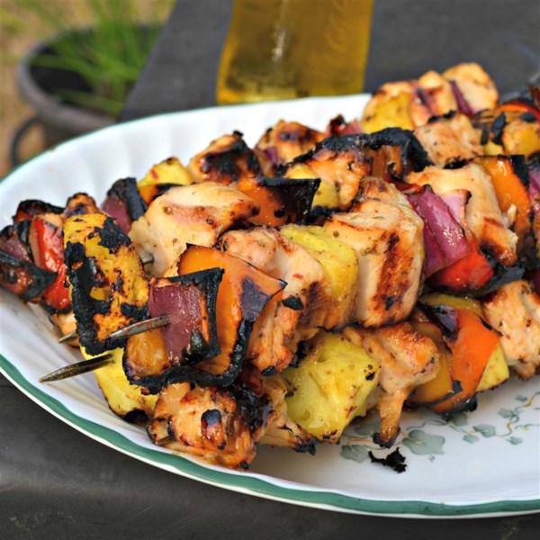 caribbean inspired grilled chicken kabobs photos