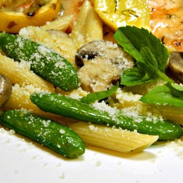 pasta with sugar snap peas parmesan and mushrooms photos