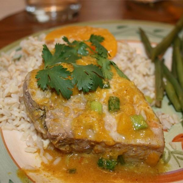 peach curry glazed pork chops photos
