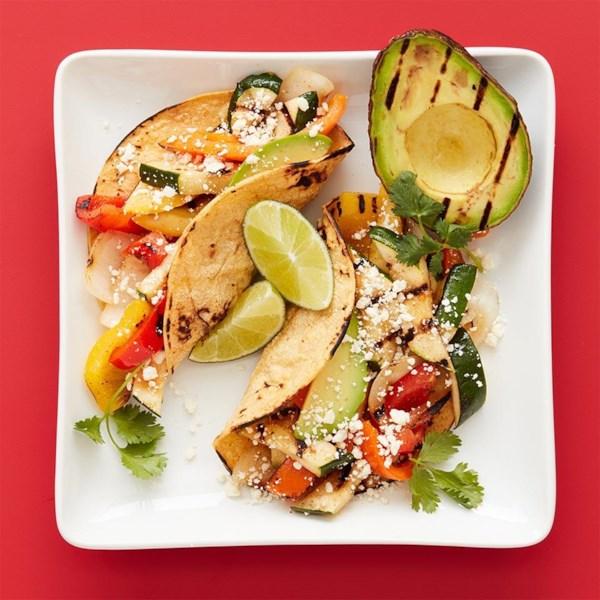 grilled avocado and veggie tacos photos