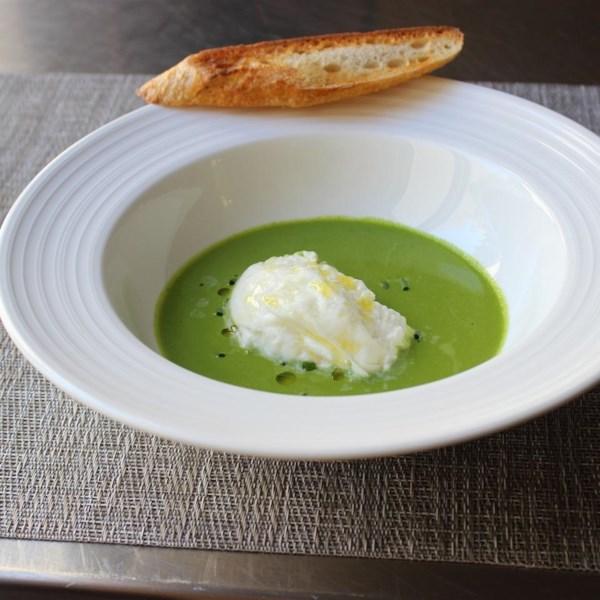 gazpacho verde with burrata cheese photos