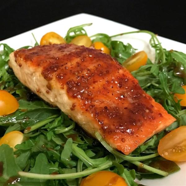 6935001b6bcf Apricot Mustard-Glazed Salmon with Arugula Photos - Allrecipes.com