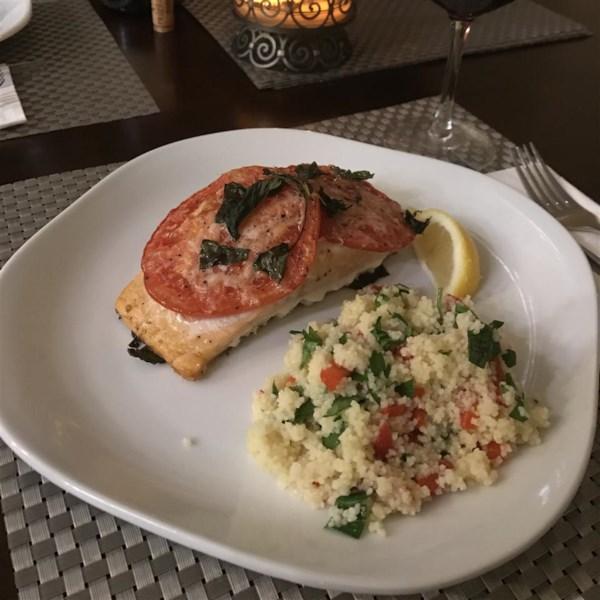 tomato basil salmon photos