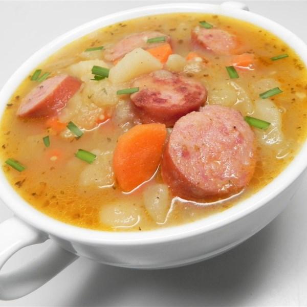 kartoffelsuppe nach bayrischer art bavarian potato soup photos