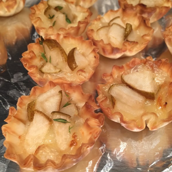 warm brie and pear tartlets photos