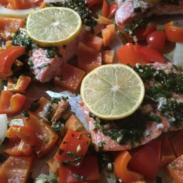 sheet pan salmon and bell pepper dinner photos