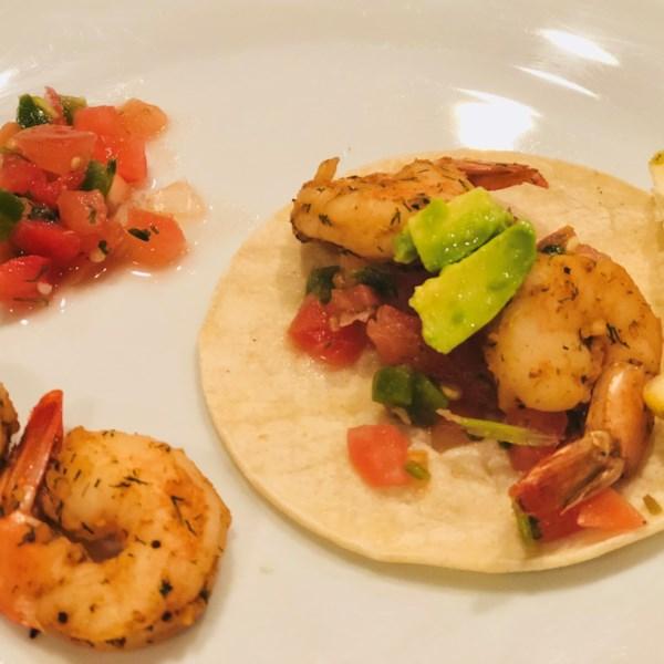 spicy shrimp tacos with avocado photos