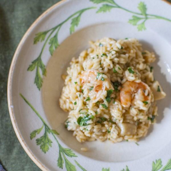 italian shrimp and scallop risotto photos
