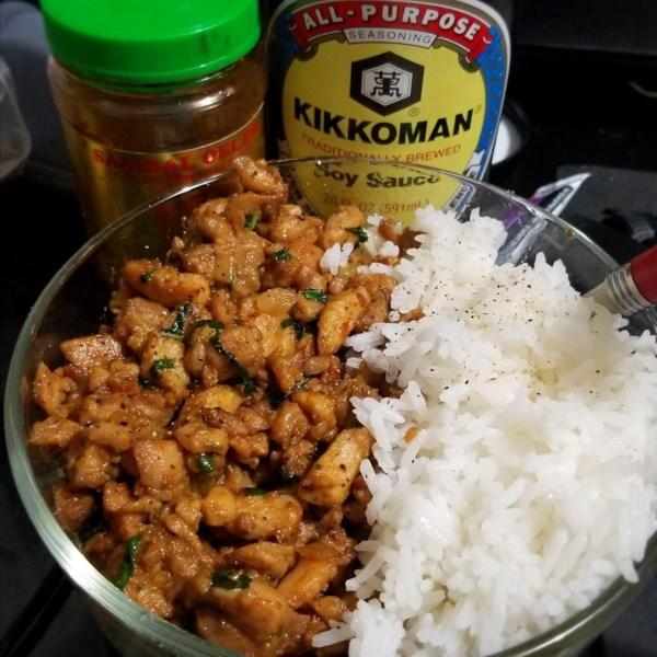 spicy thai basil chicken pad krapow gai photos
