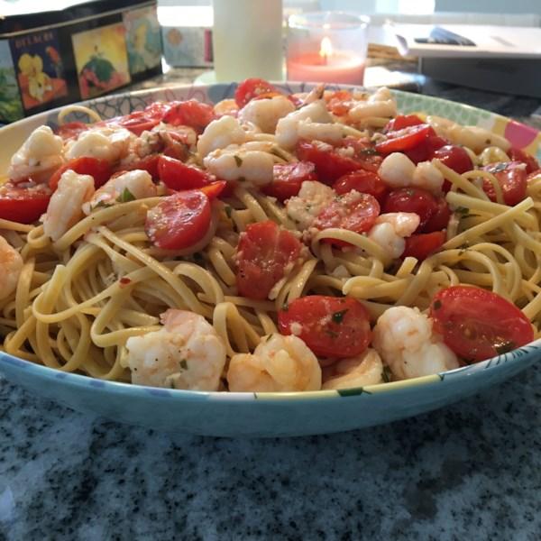 shrimp scampi with linguini photos