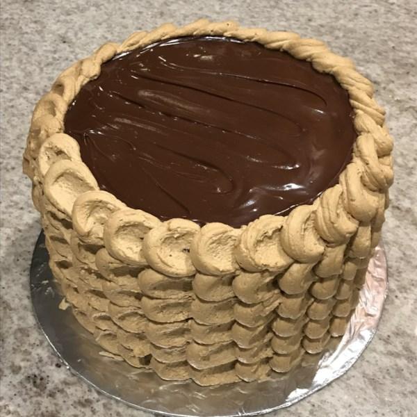 three layer chocolate cake with irish coffee frosting photos