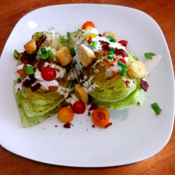 wedge salad with elegant blue cheese dressing photos