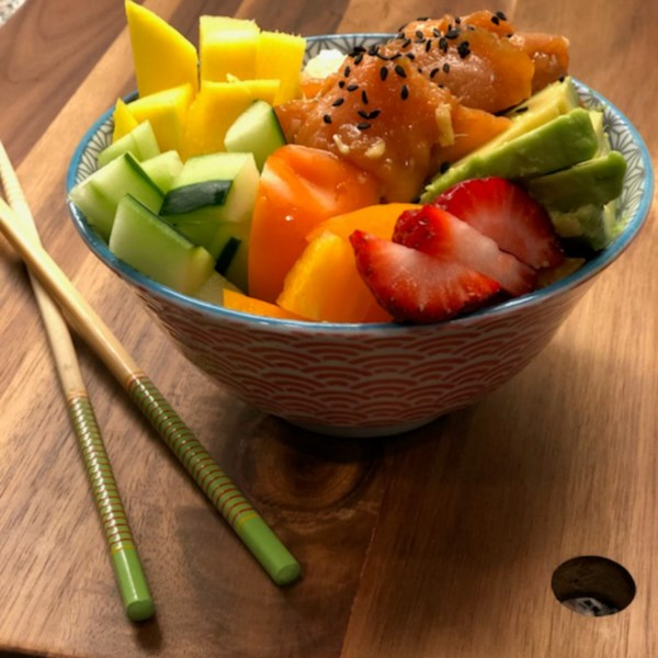 smoked salmon poke bowl photos