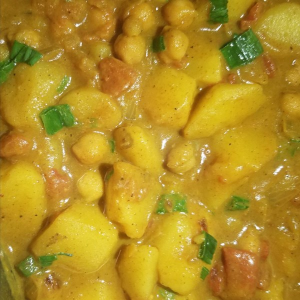 spicy vegan potato curry photos