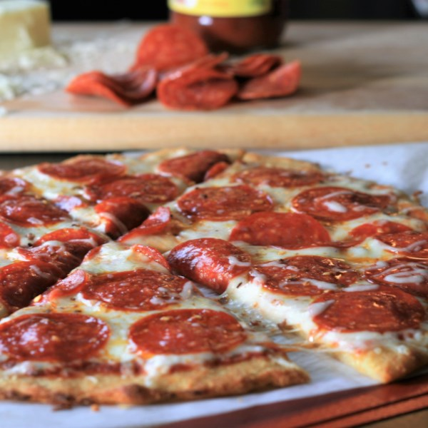 keto pepperoni pizza with fathead crust photos