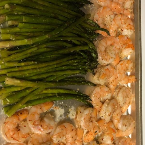 sheet pan lemon butter garlic shrimp with asparagus photos