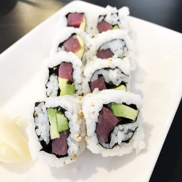 inside out spicy tuna and avocado sushi photos