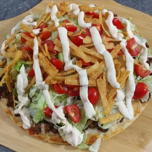 taco salad pizza photos