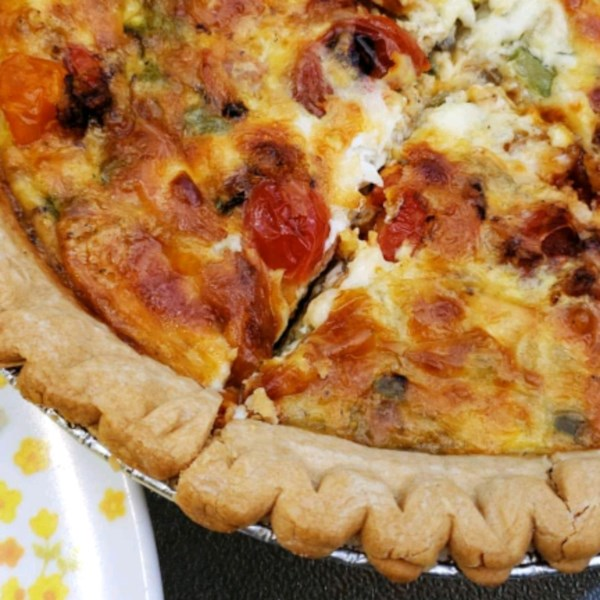 loaded vegetarian quiche photos