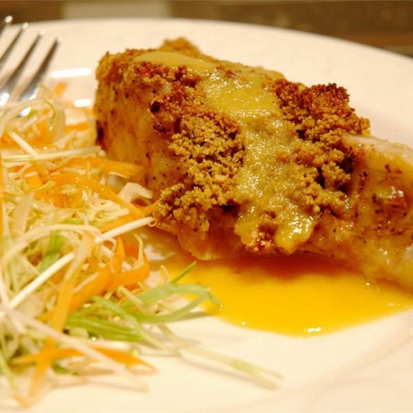 macadamia crusted sea bass with mango cream sauce photos