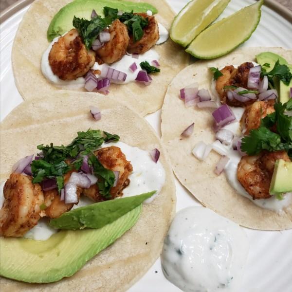shrimp tacos with cilantro lime crema photos