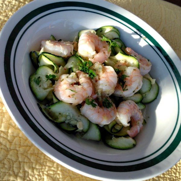 healthy shrimp scampi with zoodles photos