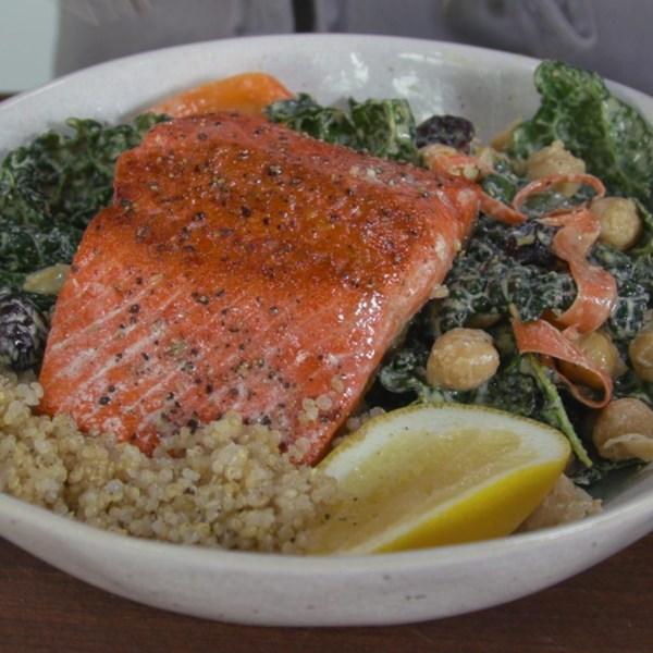 salmon quinoa bowl photos