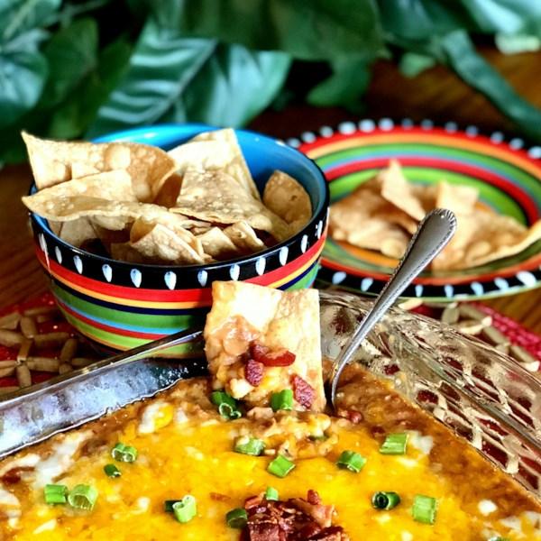 hot bean and bacon dip with air fryer tortilla chips photos