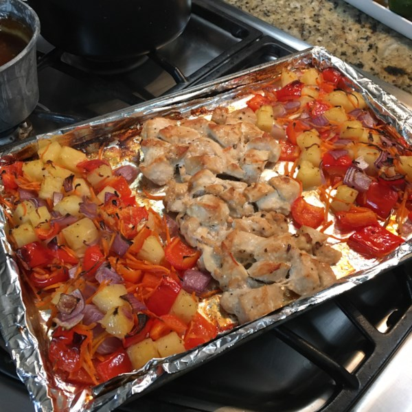 sheet pan sweet and sour chicken photos