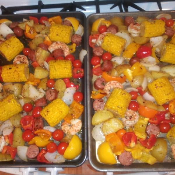 sheet pan shrimp and sausage bake photos