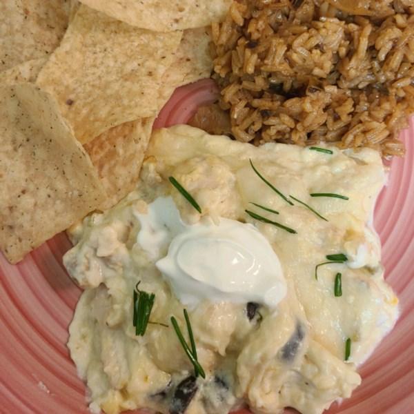 white chicken enchilada slow cooker casserole photos
