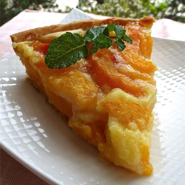 peach pie with sour cream photos