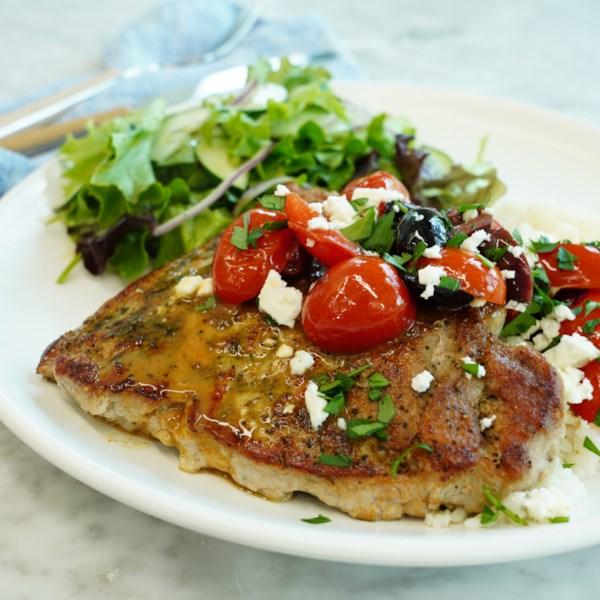 greek inspired seared pork chops photos