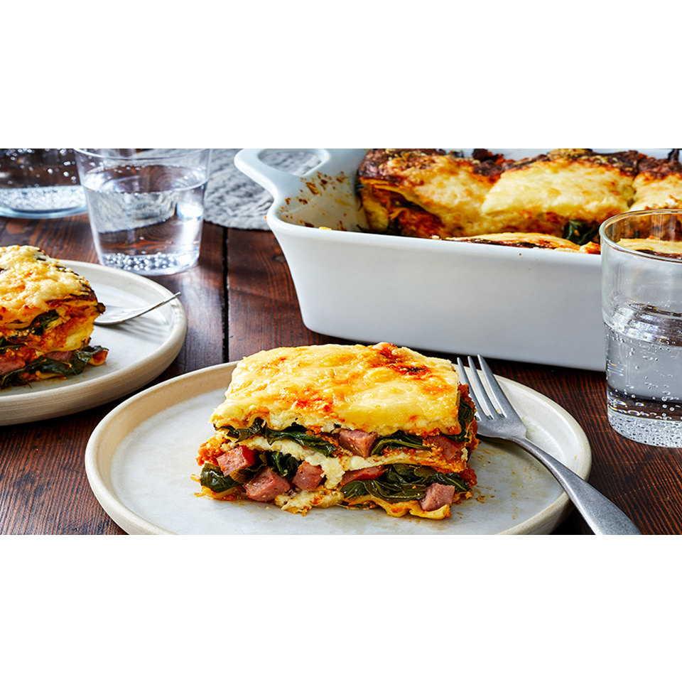 Smoked Sausage, Pumpkin, and Collard Greens Lasagna - Printer Friendly