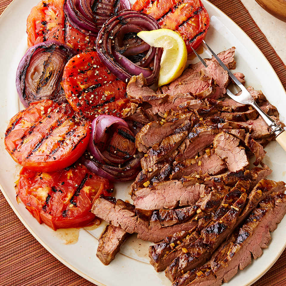 Molasses-Mustard Marinated Flank Steak with Grilled Tomatoes & Onions Diabetic Living Magazine