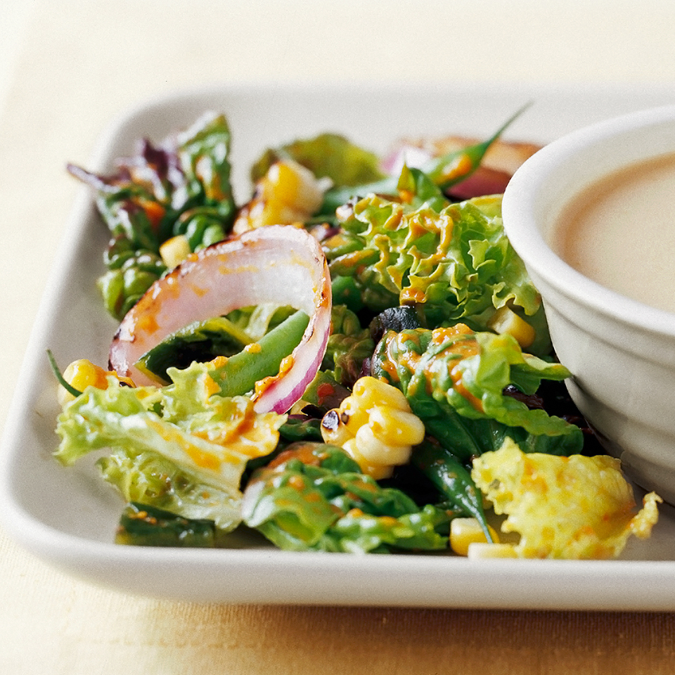 Grilled Red Onion & Corn Salad with Roasted Red Pepper Vinaigrette Diabetic Living Magazine
