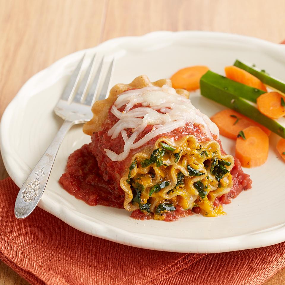 Squash & Spinach Lasagna Roll-Ups Diabetic Living Magazine