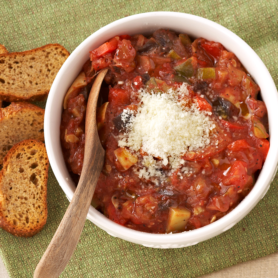 Ratatouille is normally served as a main dish but here it's served with pita chips and enjoyed as an appetizer. It's made in the slow cooker so if you're serving it at a party just leave it in the cooker on warm while your guests dig in!