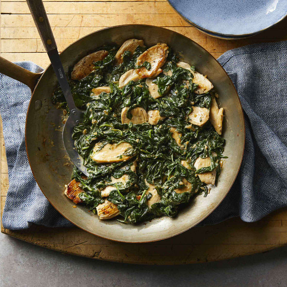 Classic chicken Florentine—creamy spinach served atop sautéed chicken cutlets—is a fast and easy meal. To keep calories lower, this recipe uses cornstarch to thicken the cream instead of cheese. This chicken recipe is simple enough for weekdays but also elegant enough for a dinner party.