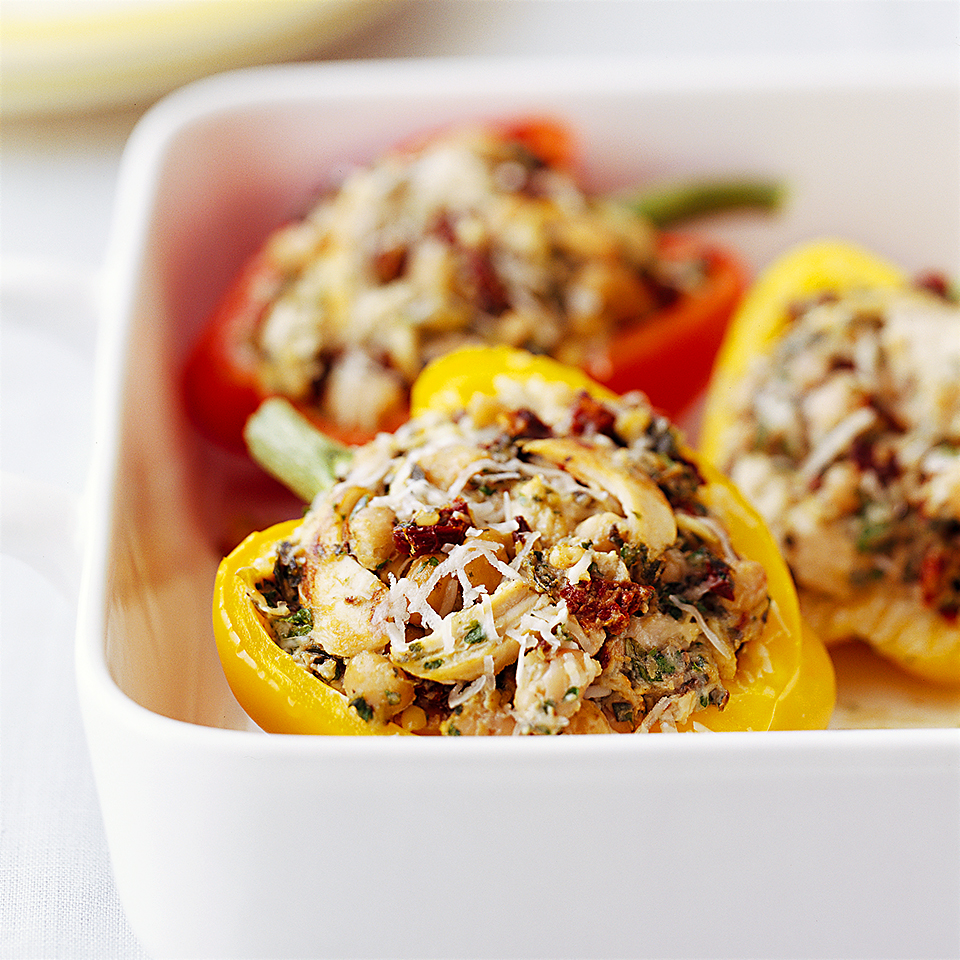 Tofu, cooked chicken breast, and navy beans pack these colorful peppers with lots of low-fat protein.