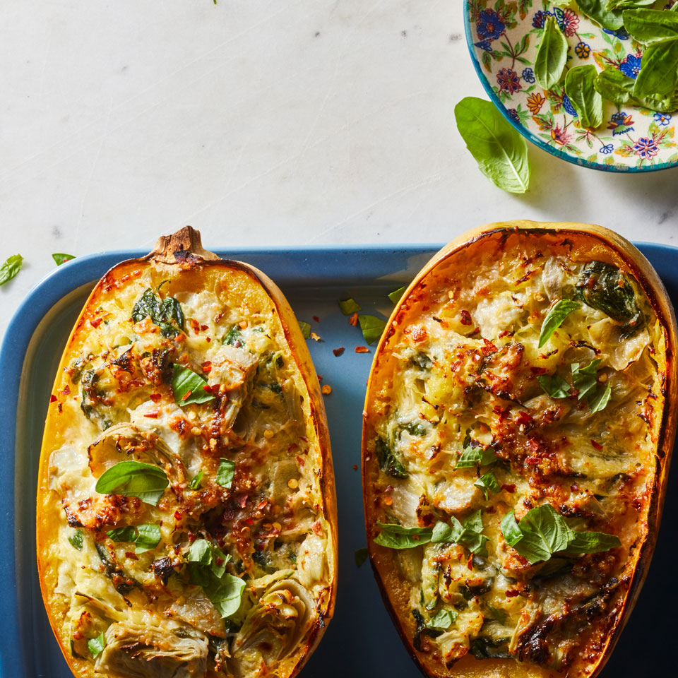 This spaghetti-squash-for-pasta swap slashes both carbs and calories by 75 percent for a delicious, creamy casserole you can feel good about eating. It's worth roasting the squash versus cooking it in the microwave if you have the time: the flavor gets sweeter and more intense.