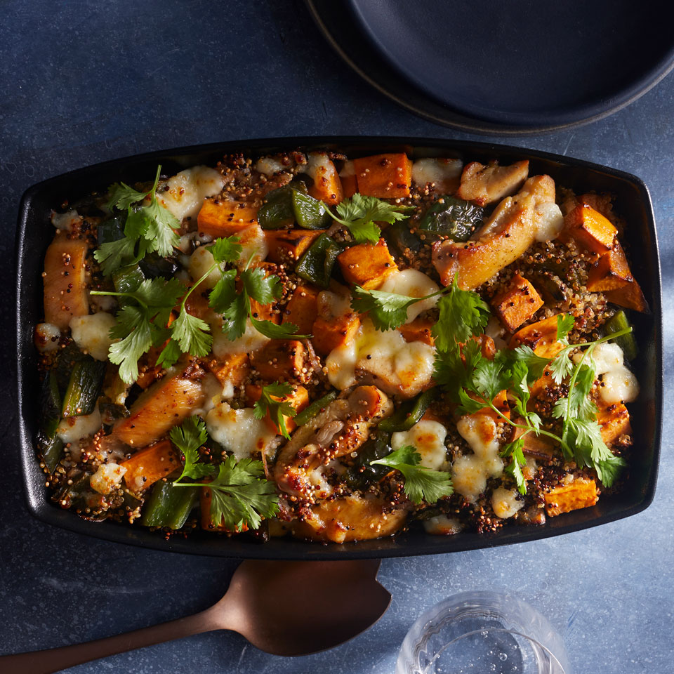 This protein-loaded chicken and sweet potato casserole dish is made with multicolored quinoa, a blend of white, red and black varieties, but any color will work.