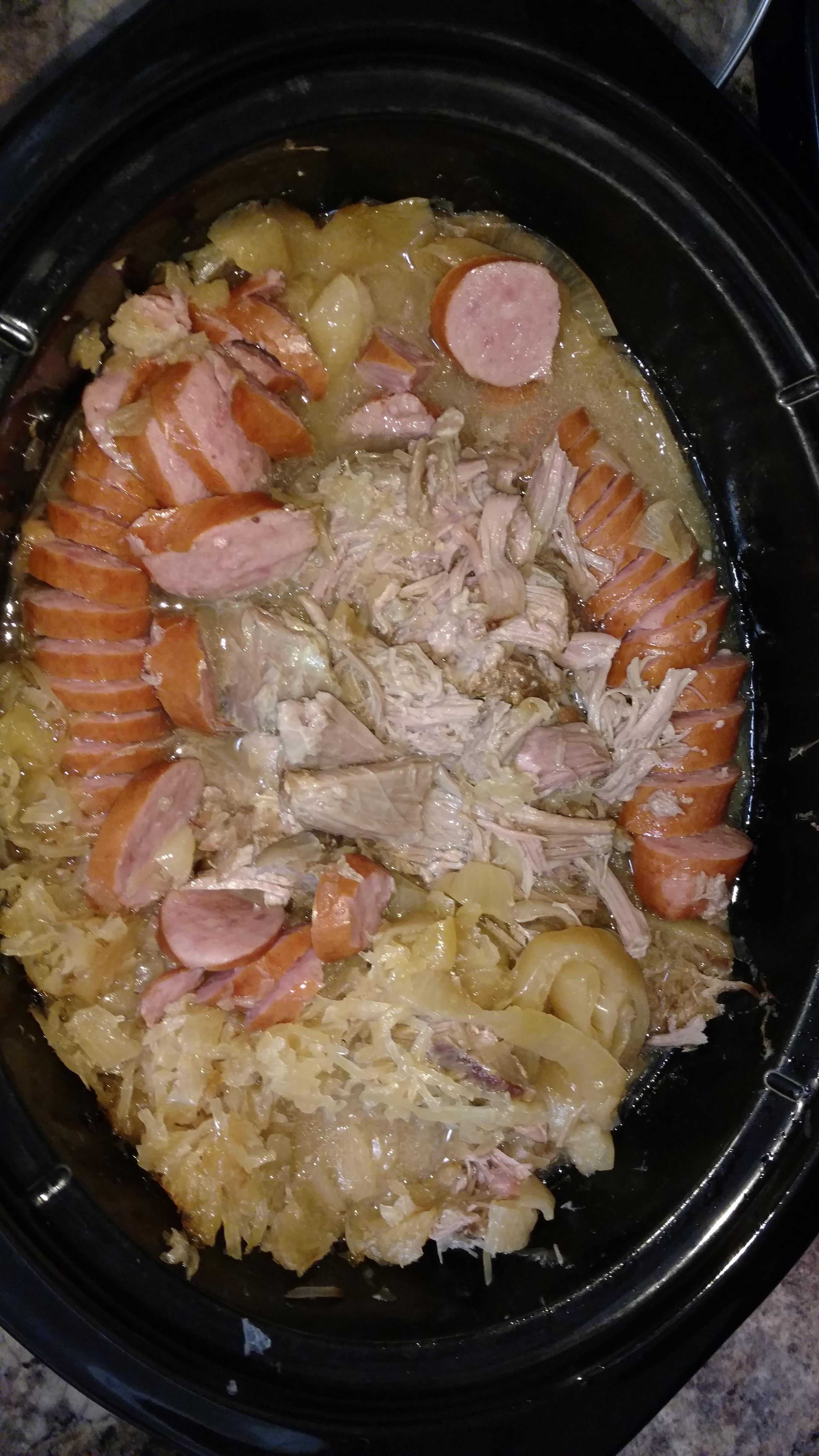 Pork Roast with Apples, Beer, and Sauerkraut